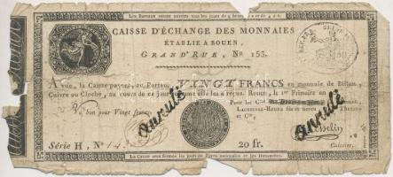 Franciaország / Rouen 1797-1803. 20Fr annulé (érvénytelen) felülbélyegzéssel T:IV  France Rouen 1797-1803. 20 Francs annulé (cancelled) C:G Krause S245a