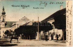 1905 Hódság, Odzaci; Templom utca, Christian szálló. Rausch Ede kiadása / street view with church and hotel