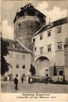 Városszalónak, Stadtschlaining; Burg Schlaining, Schloss-Hof mit dem Schwarzen Turm / Szalónak vára és a Fekete torony, vár udvara. Franz Knollmüller felvétele, kiadja Johann Kopfer / castle, courtyard, tower, bastion (EK)