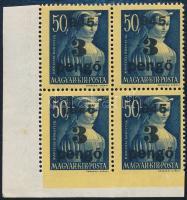 1945 Kisegítő II. 3P/50f ívsarki négyestömb, alul fogazatlan