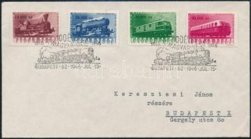 1946 (25. díjszabás) Vasútjubileum sor FDC-n