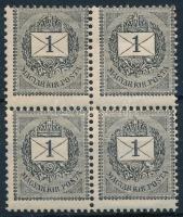 1889 1kr E erősen elfogazott négyestömb