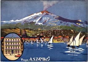 Catania, Via Vittorio Emanuele 210. Hotel de LEurope (proprietario Alessandro Szamkó) / graphic hotel advertisement card, Mount Etna. artist signed (EK)