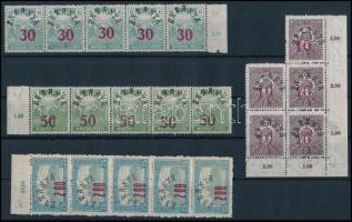 Baranya II. 1919 10 klf bélyeg 5-ös csíkokban, tömbökben (12.750) / 10 different stamps in blocks or stripes of 5. Signed: Bodor