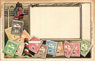 A Magyar kir. Posta bélyegei / set of Hungarian stamps, coat of arms. Ottmar Ziehers Philatelie Ansichtskarte Emb. litho