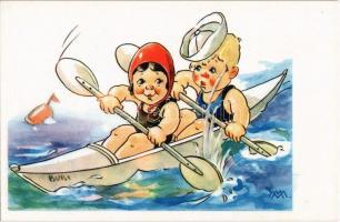 4 db régi olasz művészlap, gyerekek a strandon / 4 pre-1945 Italian art postcard, children on the beach. Cecami Nr. 1031. s: M. M.