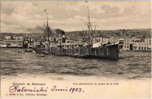 1903 Thessaloniki, Salonique; Vue panoramique du centre de la Ville / SS Samos in the port