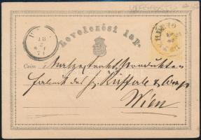 1871 Díjjegyes levelezőlap / PS-card ÚJFEHÉRTÓ - WIEN