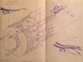 1953 Ölyv album (Honvédelmi Minisztérium), a Jak-11 (Ölyv) kiképző vadászgép különféle műszaki rajzai (műszerfal, olajrendszer, stb.) egybekötve, félvászon kötésben