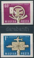 1958 Levelező hét (I.) vágott sor (8.000) (törések)