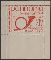 1937/2 Pannóniai bélyegegyesület emlékív / souvenir sheet