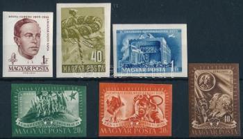 1950-1961 6 db klf vágott bélyeg, közte töredék sor