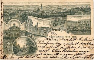 1898 Lajtabruck, Bruck an der Leitha; Tábori főőrség, Templom utca, Harrach kastély, laktanya / Lager Hauptwache, Kirchengasse, Lager Baraken, Schloss / church street, military barracks with main guard building, castle. Art Nouveau, floral s: Fleischmat (kis szakadás / small tear)