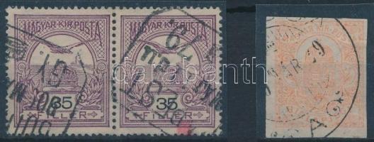 1908 Turul 35f pár és Hírlapbélyeg 4. vízjelállással