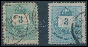 1881 3 kr kék színű bélyeg + támpéldány RR