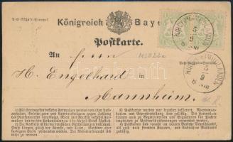 1874 Levelezőlap 2 x 1kr bélyeggel / Postcard with 2 x 1kr stamps KIRCHHEIMBOLANDEN