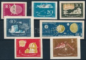 1959 Nemzetközi Geofizikai év vágott sor (4.000) (barna foltok, 10f, 30f, 60f, 1Ft gumi nélküli)