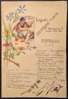 1916 Az esztergomi hadifogoly tábor orosz hadifoglyai által készített, rajzolt emléklap tábori program. / 1916 Esztergom, Russian prisoners of war camp. Hand drawn program. 31x44 cm