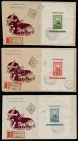 1951 80 éves a magyar bélyeg blokksor 3 db FDC-n, ajánlott futott levélként