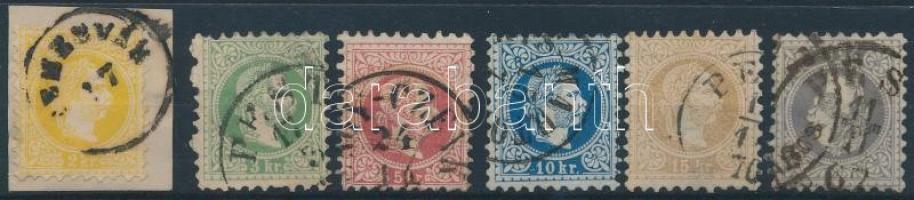 1867 2kr - 25kr 6 érték, a 2 kr kivágáson (~83.000)