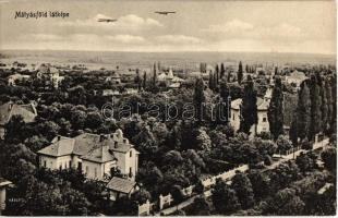 Budapest XVI. Mátyásföld, látkép repülőgépekkel. Paszejka tőzsde kiadása