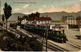 St. Margrethen (Rheintal), Bahnhof / railway station with locomotive, trans (EK)
