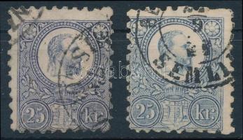 1871 Réznyomat 2 különböző színű 25kr (17.000)