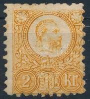 1871 Réznyomat 2kr narancs (11.000) (felül rövid fogak / short perfs. above)
