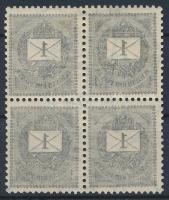 1898 1kr négyestömb gépszínátnyomattal, 2 bélyeg postatiszta