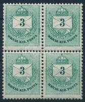 1881 3kr négyestömb lemezhibákkal, festékfoltokkal