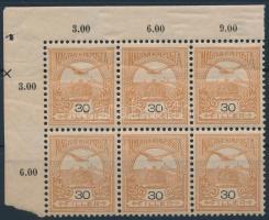 1904 Turul 30f ívsarki hatostömb (30.000++)
