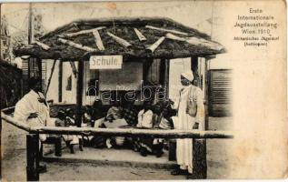 1910 Wien, Erste Internationale Jagdausstellung. Afrikanisches Jägerdorf (Aethiopien), Schule / The First International Hunting Exposition in Vienna. African (Ethiopian) hunting villages school (gluemark)