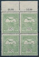 1913 Turul olajzöld 60f ívszéli négyestömb (10.400)