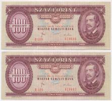 1980. 100Ft (2x) sorszámkövetők T:III szép papír Adamo F34
