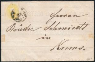1861 2kr nyomtatványon PESTH - KREMS