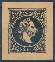1867 2kr fekete próbanyomat sárga papíron