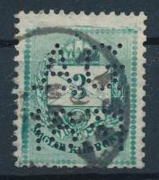 1881 Színesszámú 3kr látványos lemezhibákkal és céglyukasztással
