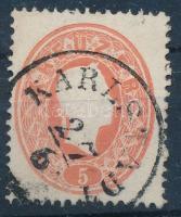 1861 5kr szögfejbenyomattal KARLSTADT