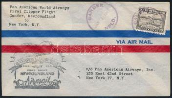 Újfundland / Newfoundland 1947 Első repülés levél / First flight cover Gander - New York