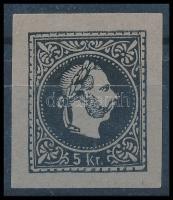1867 5kr fekete színű próbanyomat kékes papíron