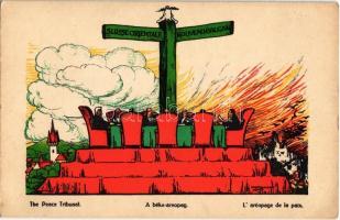 Suisse orientale, Nouveau Balcan / Magyarország feldarabolása Európa veszedelmeBéke-areopag / Peace tribunal, Hungarian irredenta art postcard s: Haranghy Jenő