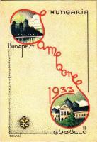 1933 Budapest-Gödöllő, Cserkész Jamboree. Kiadja a Magyar Cserkészszövetség / Hungarian scout jamboree art postcard. s: Szilasi
