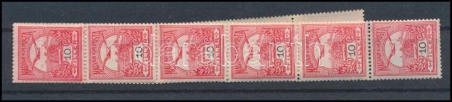 1909 Turul 10f tekercsbélyeg, 11-es csík (26.000+)