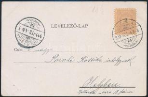 1899 2kr 11 1/2 fogazással levelezőlapon, ritka futott küldeményen!