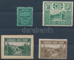 1909-1924 4 db klf Hohe Rinne hotelposta bélyeg