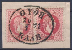 1867 2 x 5kr kivágáson eltérő piros árnyalatban GYŐR / RAAB