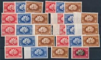 1949/1950 UPU 3 db alap sor + 2 db vágott sor + 2 db jobb oldalon és 2 db bal oldalon vágott sor + 1 db blokkból kitépett bélyeg (25.400)
