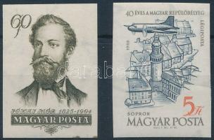 1954-1958 Jókai 60f és Repülő 5Ft vágott bélyegek
