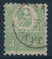 1871 Kőnyomat 3kr II. típus JÁNOSHÁZA (140.000) (enyhe elvékonyodás / light thin)