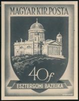 Esztergomi bazilika: Gönczi Gebhardt Tibor bélyegtervének nagyméretű eredeti nyomdai fotója. Rendkívüli különlegesség!